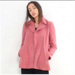Zara Pink Textured Wool Coat Size XL